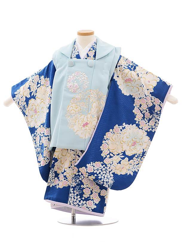 七五三レンタル(3歳女児被布)3594 NATURAL BEAUTY水色×ブルー椿に梅