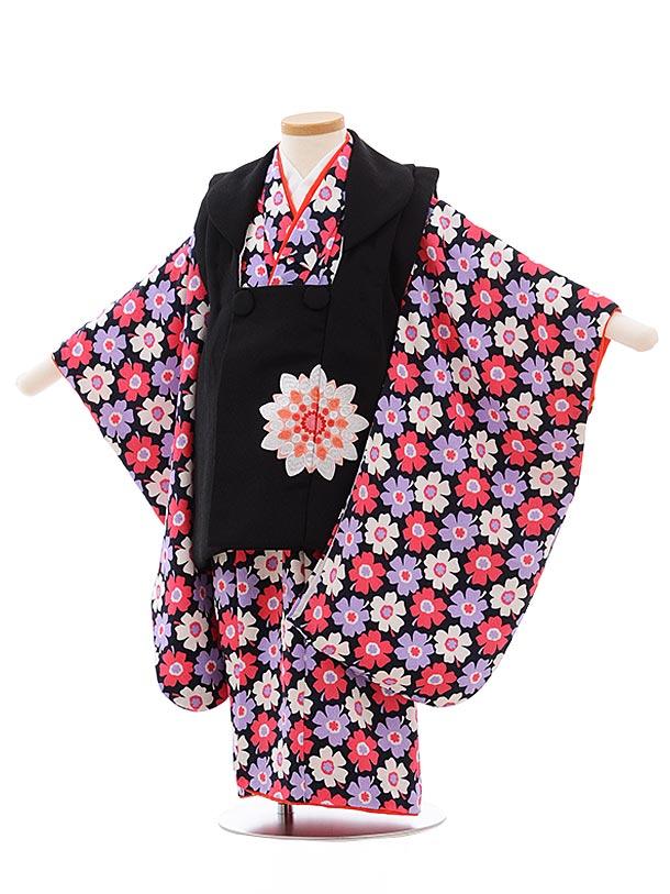 七五三(3歳女被布)3605 黒×紺地 花