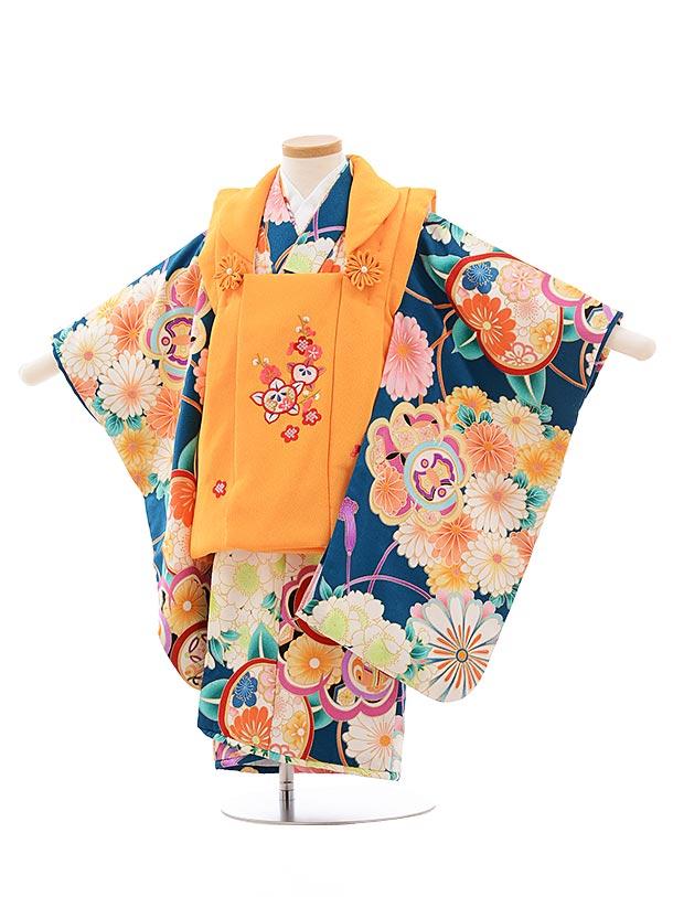 七五三(3歳女被布)3607 オレンジ×グリーン地 花
