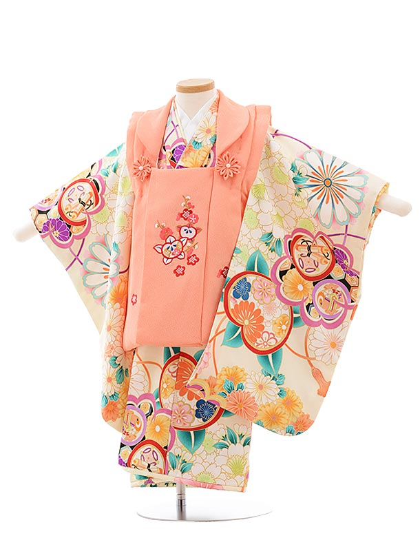 七五三(3歳女被布)3609 サーモンピンク×クリーム地 花