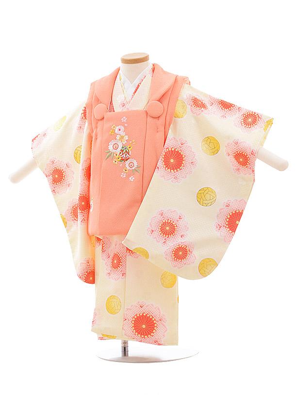 七五三レンタル(3歳女児被布)3613 サーモンピンク×クリーム地 桜