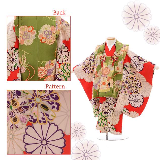 七五三(3歳女被布)3620 アンティーク グリーン 花×赤地 菊
