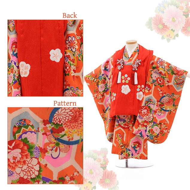 七五三(3歳女被布)3624 アンティーク 赤×オレンジ 花 丸