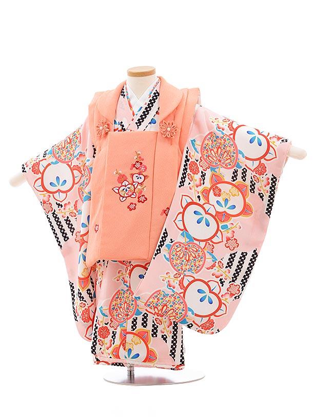七五三(3歳女被布)3627 サーモンピンク×ピンク 橘