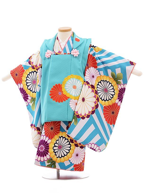 七五三(3歳女被布)3639 花わらべ ターコイズ×ブルー縞 菊