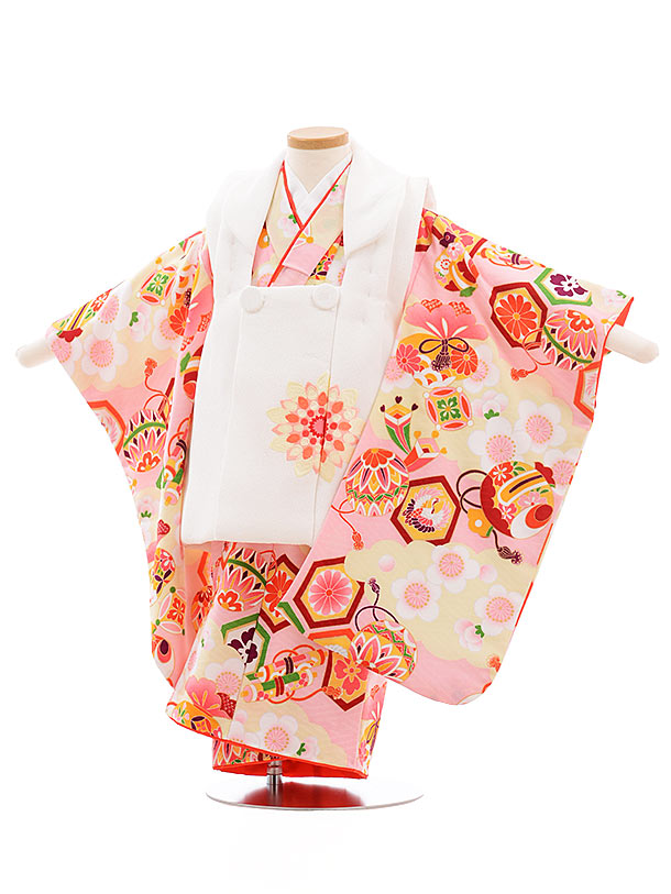 七五三(3歳女被布)3642 白×ピンク まり 小槌