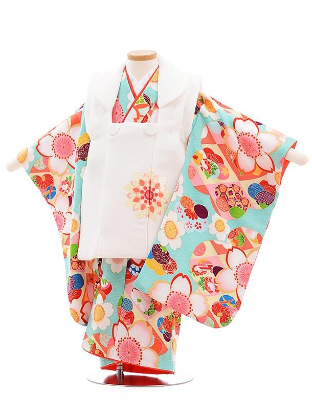 七五三(3歳女被布)3643 白×ペパーミントグリーン 桜