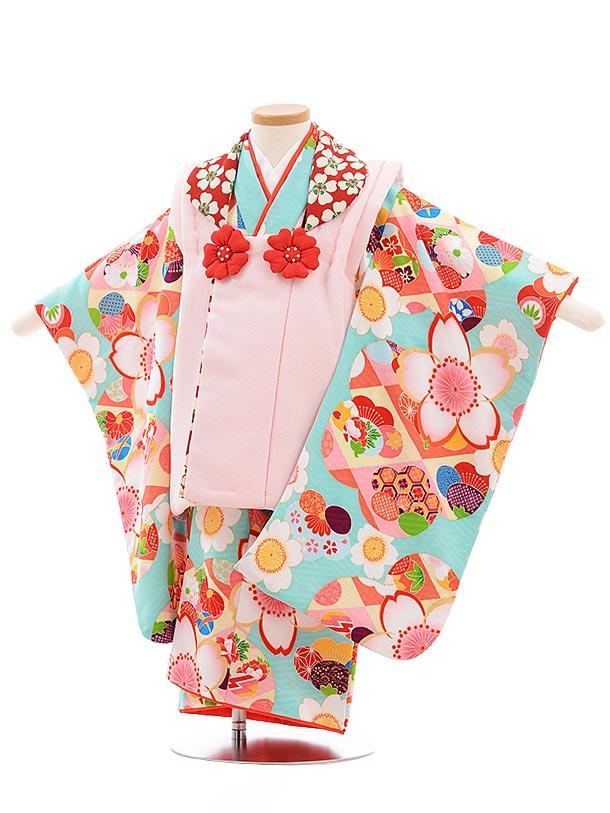 七五三(3歳女被布)3646 ピンク×水色 桜