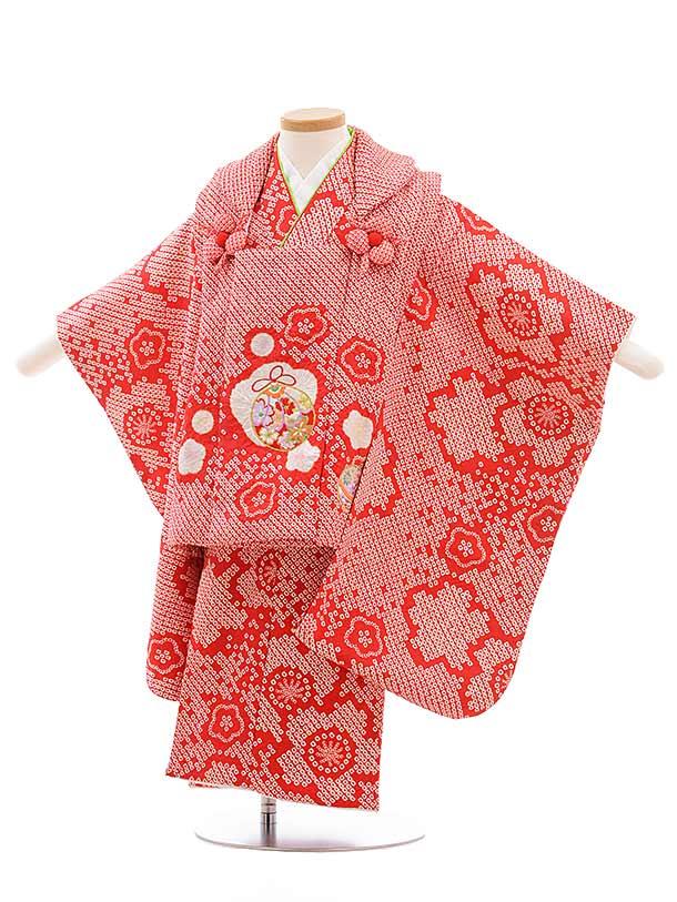 七五三(3歳女被布)3650 高級正絹 赤地 絞り×赤菱田柄