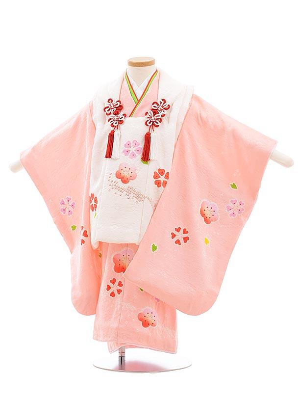 七五三(3歳女被布)3651 高級正絹 白×ピンク地 絞り 梅