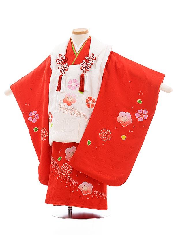 七五三(3歳女被布)3652 高級正絹 白×赤地 絞り 梅