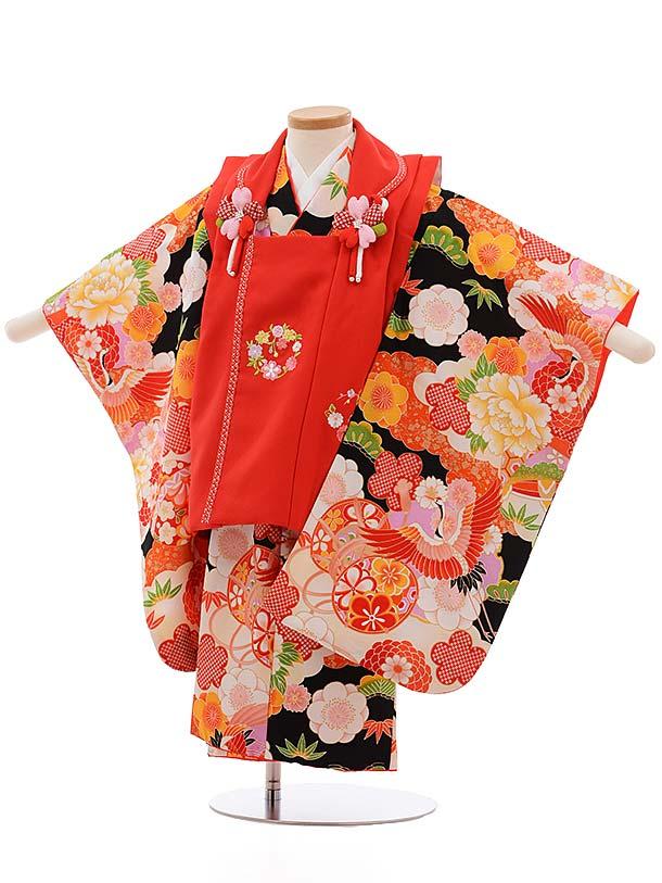 七五三(3歳女被布)3653 赤×黒地 ぼたん 鶴