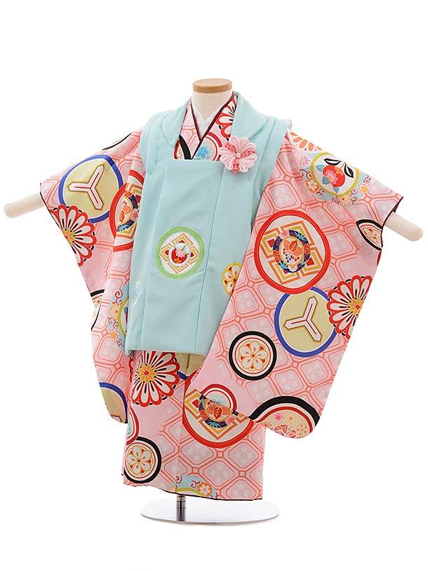 七五三(3歳女被布)3654 川栄李奈 水色×ピンク 丸紋