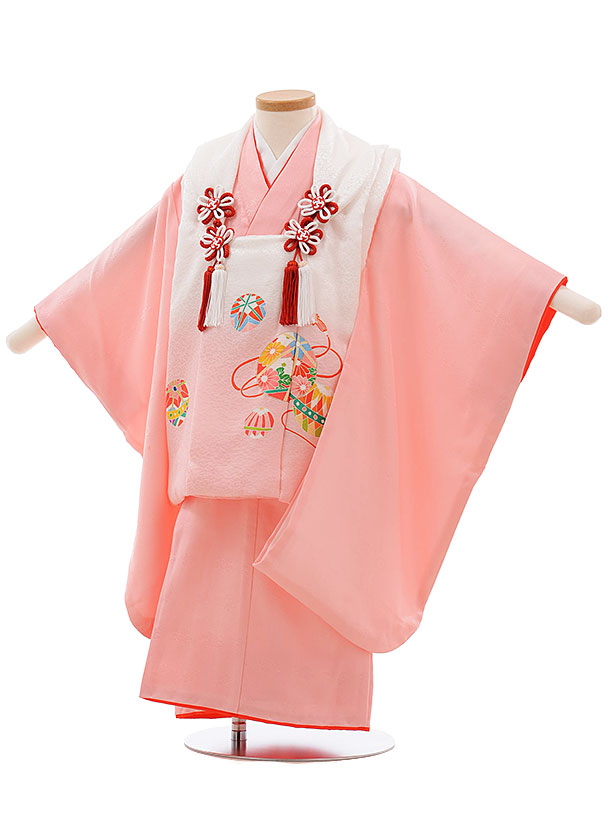 七五三(3歳女被布)3658 正絹 白ぼかし まり×ピンク