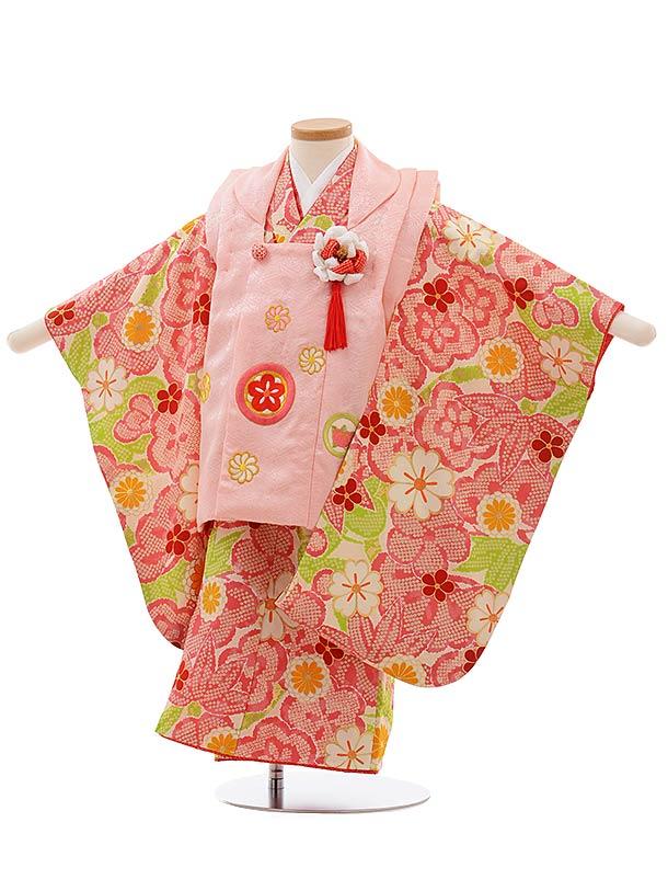 七五三(3歳女被布)3661 正絹 紅一点 ピンク×クリーム地 ピンク 梅