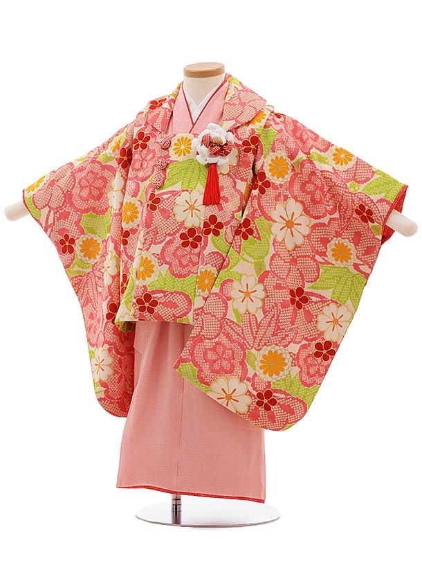 七五三(3歳女被布)3664正絹 紅一点袖付被布 クリーム地ピンク梅×ピンク