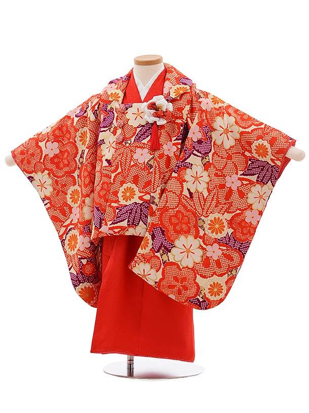 七五三(3歳女被布)3665 正絹 紅一点 袖付き被布 クリーム地 赤梅×赤