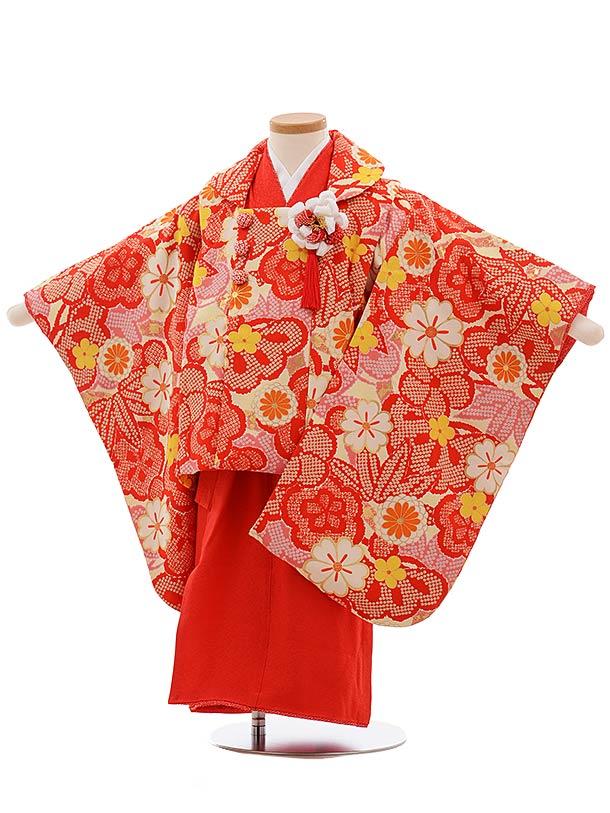 七五三(3歳女被布)3666 正絹 紅一点 袖付き被布 クリーム地 赤黄梅×赤