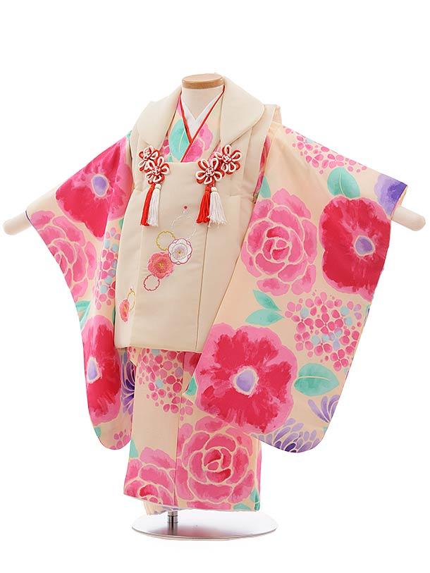 七五三(3歳女被布)3669 クリーム色×うすピンク地 花