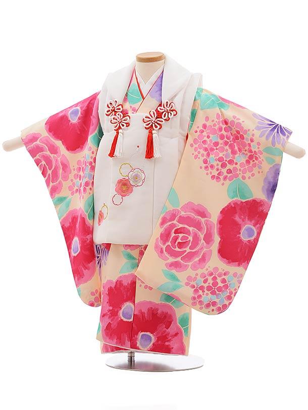 七五三(3歳女被布)3670 白×うすピンク地 花