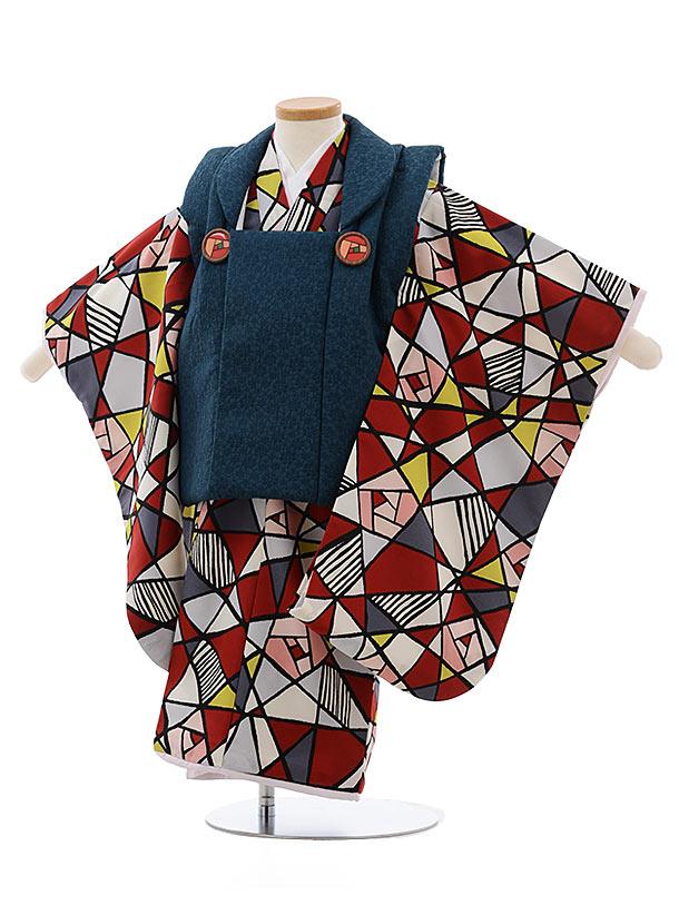 七五三(3歳女児被布)3678  ブルーグリーン×白赤ステンドグラス柄