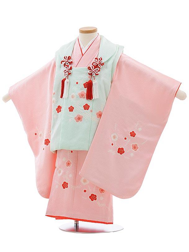 七五三(3歳女児被布)3680 正絹 パステルグリーン×ピンク梅