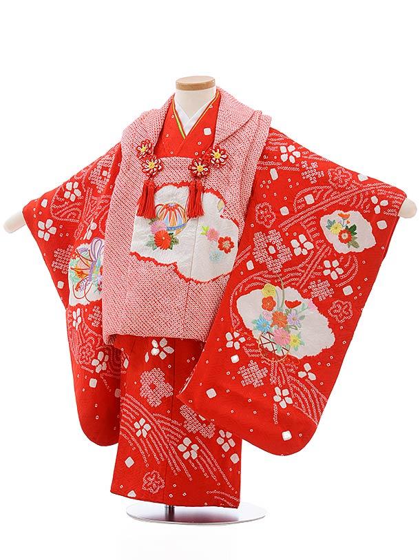 七五三tレンタル(3歳女児被布)3682 正絹 赤 絞り 刺しゅう まり 花