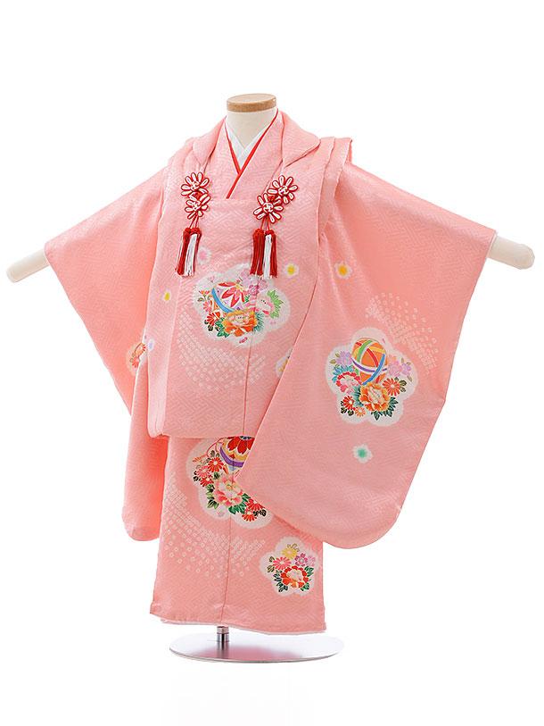 七五三レンタル(3歳女児被布)3683 正絹 ピンク×ピンクまり花