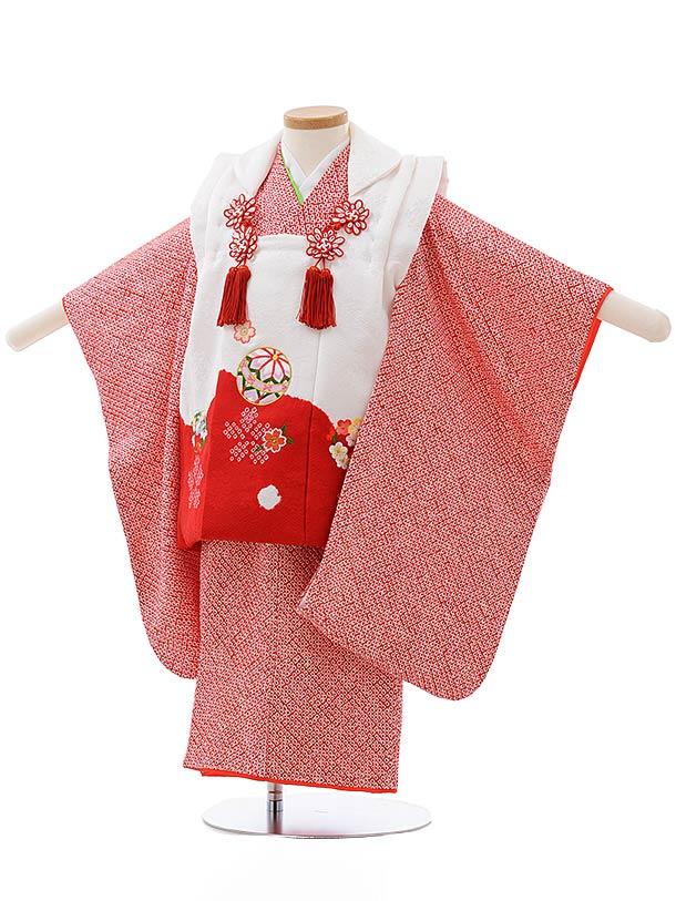 七五三レンタル(3歳女児被布)3684 高級正絹 白赤×赤総絞り