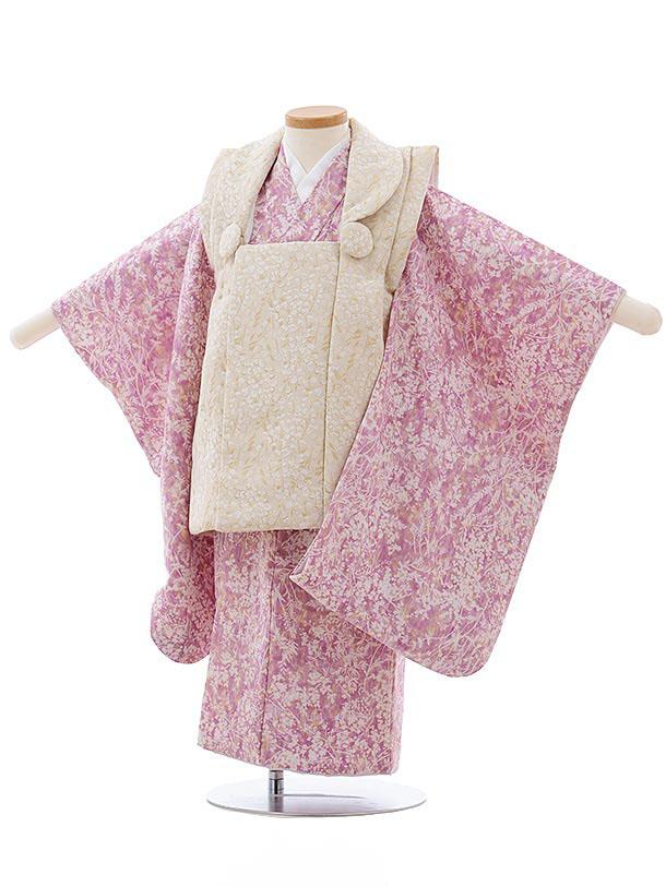 七五三レンタル(3歳女児被布)3687 ベージュ×薄紫ピンク 小花
