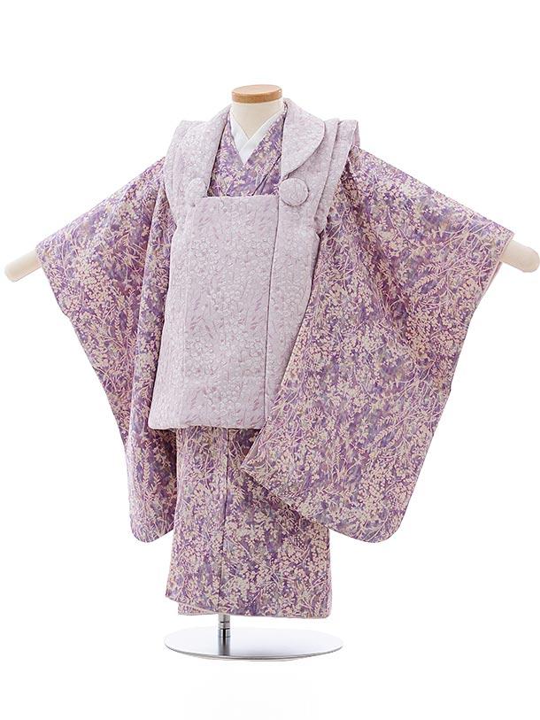 七五三(3歳女児被布)3688 パープル小花