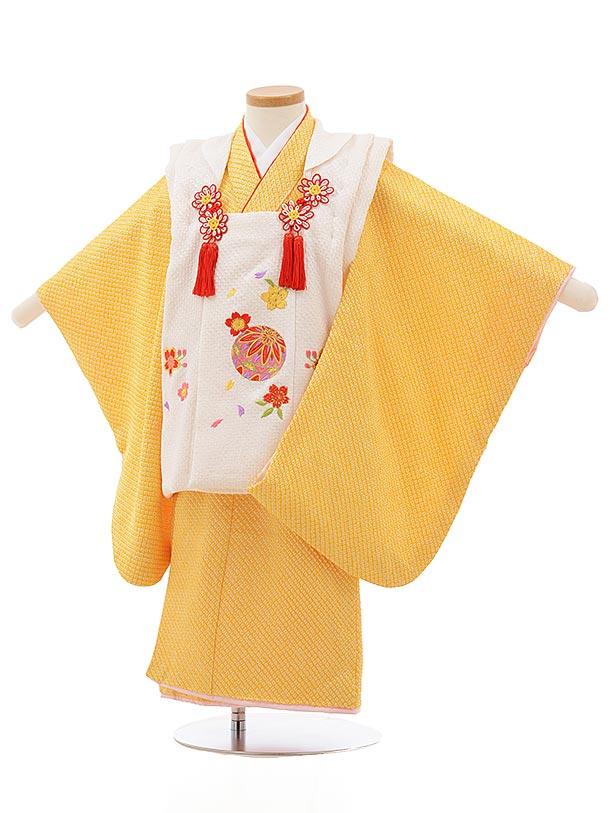 七五三レンタル(3歳女の子被布)3690 正絹絞り刺繍 白まりx黄色