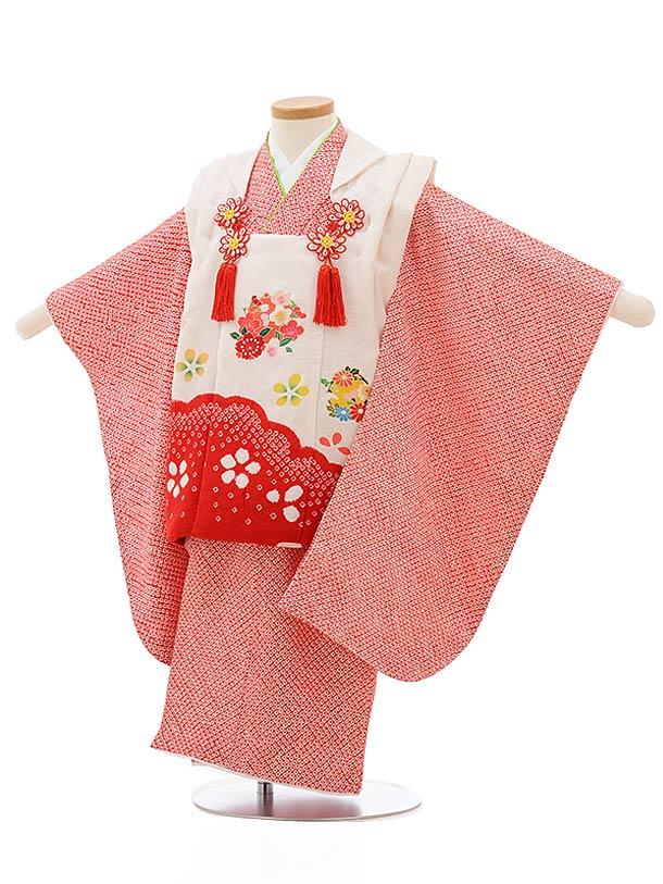 七五三レンタル(3歳女の子被布)3691 正絹絞り刺繍 白赤雲取りx赤絞り