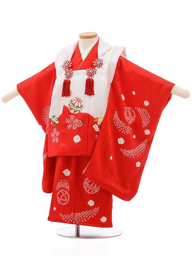 七五三レンタル(3歳女の子被布)3692 正絹 白赤まりx赤刺繍