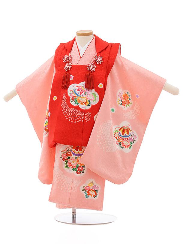 七五三レンタル(3歳女の子被布)3693 正絹 赤xピンクまり