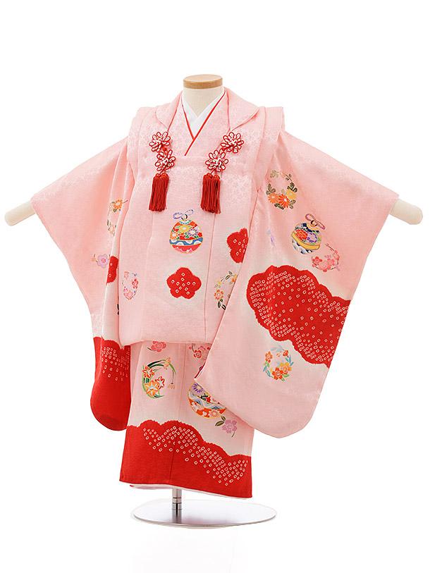 七五三レンタル(3歳女の子被布)3694 正絹 ピンク雲取り梅鈴