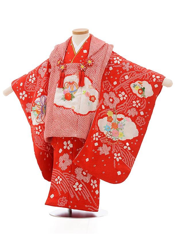 七五三レンタル(3歳女の子被布)3695 正絹絞り刺繍 赤絞りまり刺繍