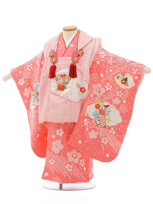 七五三レンタル(3歳女の子被布)3696 正絹絞り刺繍  ピンク絞りまり刺繍