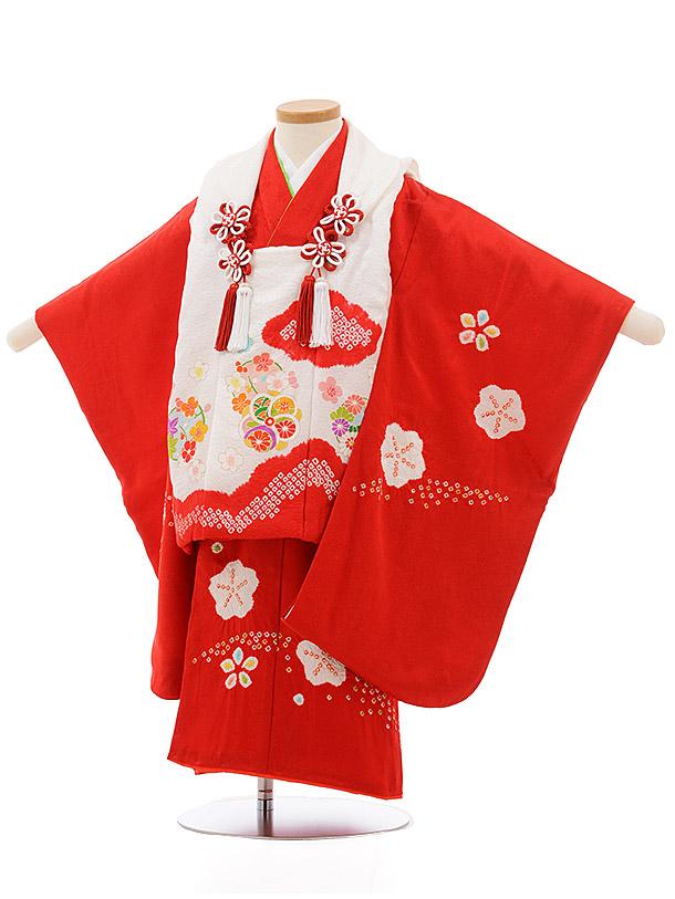 七五三レンタル(3歳女の子被布)3697 正絹 白赤雲取りx赤梅絞り