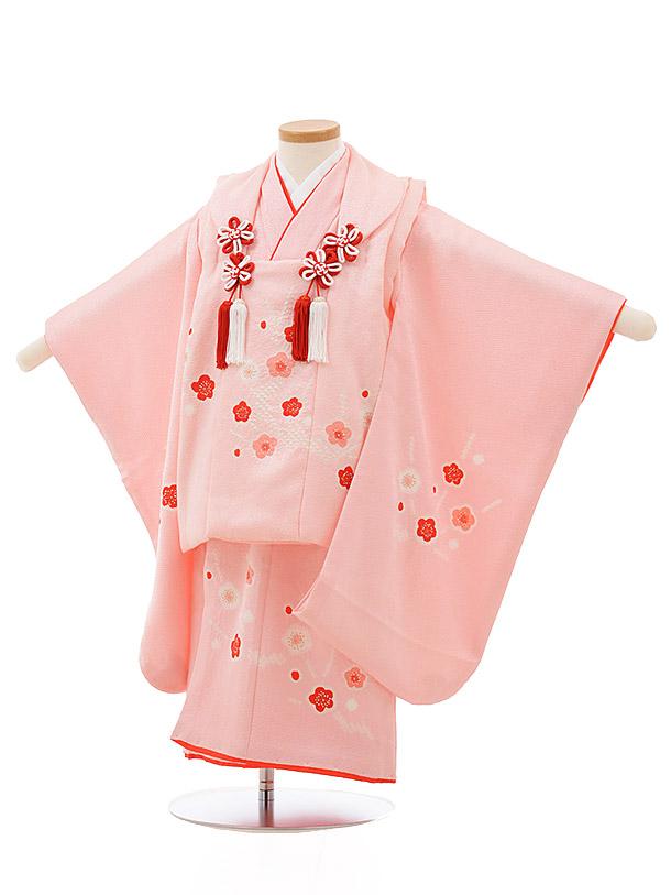 七五三レンタル(3歳女の子被布)3698 正絹 ピンク梅絞り