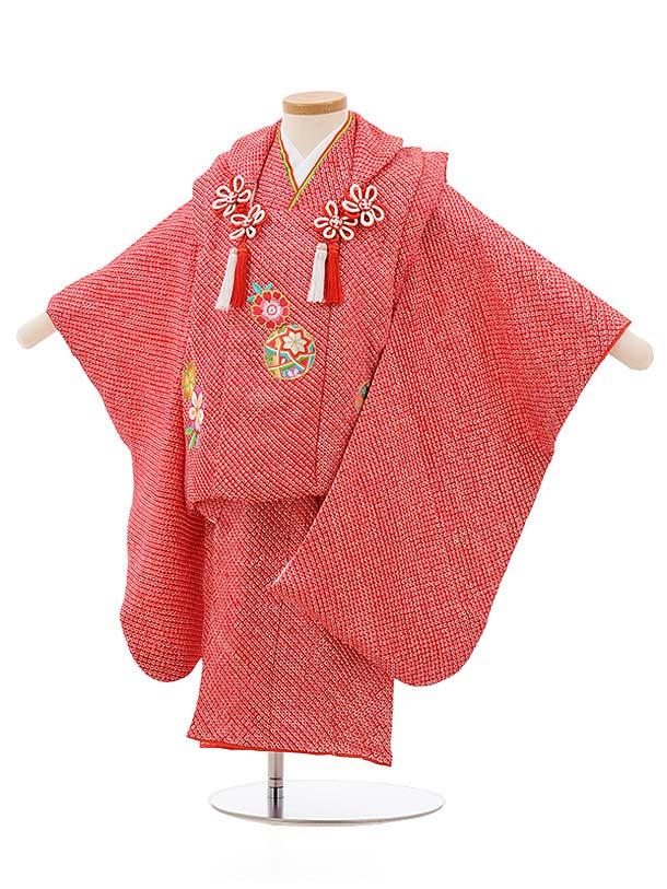 七五三レンタル(3歳女の子被布)3699 正絹絞り刺繍 赤絞り桜まり刺繍