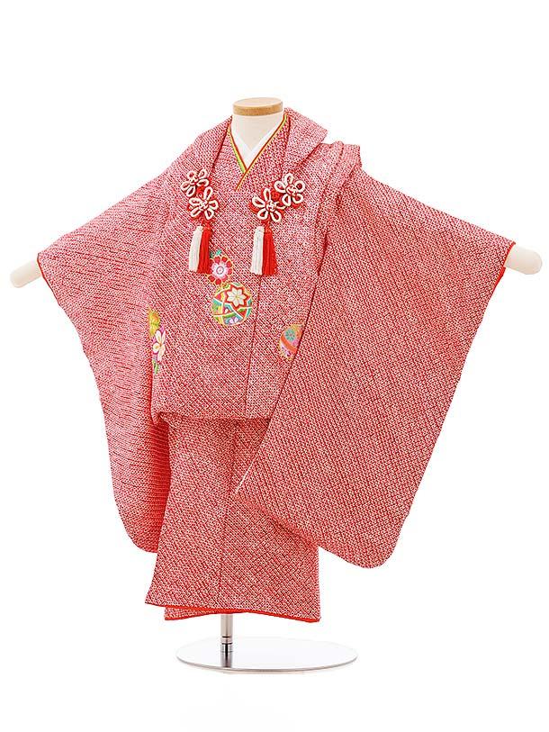 七五三レンタル(3歳女の子被布)3700 正絹絞り刺繍 赤絞り桜まり刺繍