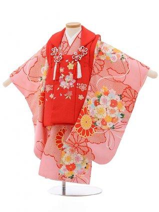 七五三レンタル(3歳女の子被布)3702赤xピンク薬玉
