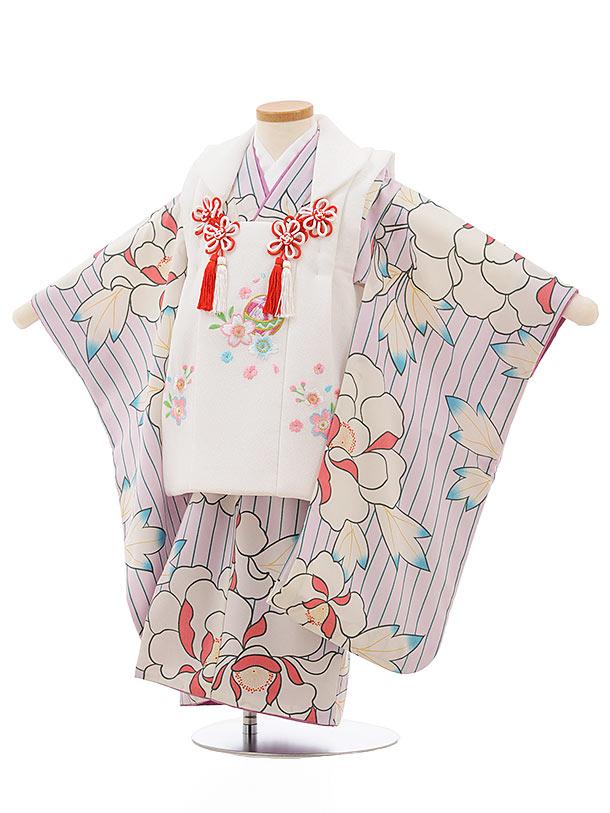 七五三レンタル(3歳女の子被布)3704白xうすパープル大花