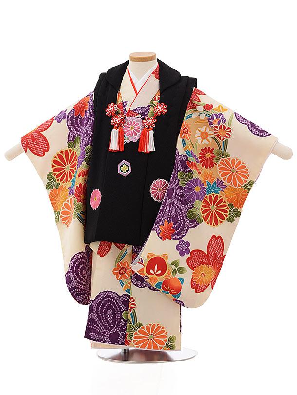 七五三レンタル(3歳女の子被布)3705黒xクリーム色菊花丸