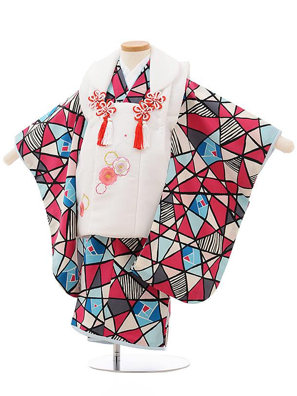 七五三レンタル(3歳女の子被布)3706白xピンク水色変わり柄
