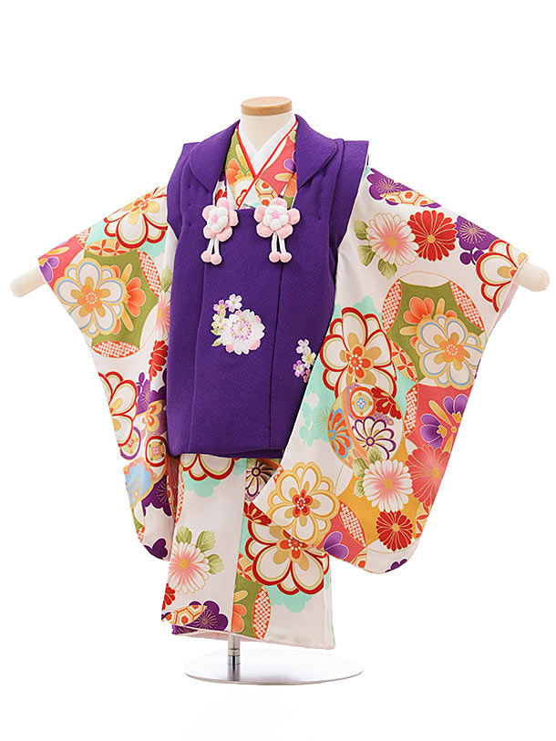 七五三レンタル(3歳女の子被布)3707紫x白地梅菊まり