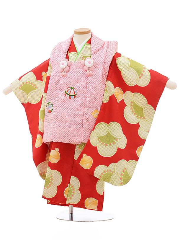 七五三レンタル(3歳女の子被布)3711ピンク疋田柄x赤地梅