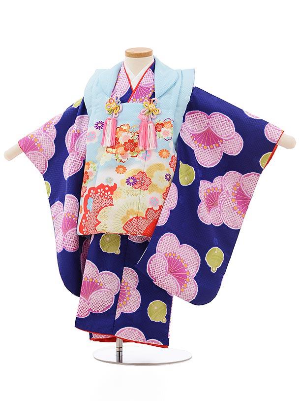 七五三レンタル(3歳女の子被布)3712水色桜x青紫地梅