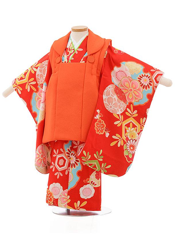 七五三レンタル(3歳女の子被布)3713オレンジx赤雪輪